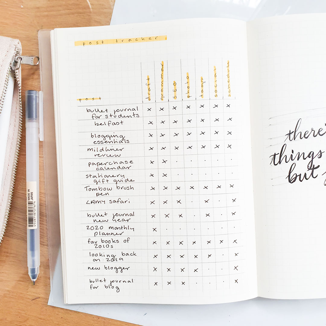 post tracker in bullet journal
